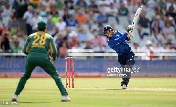 Jason Roy of England bats during the 5th Momentum ODI match between South Africa and England at Newlands Stadium on February 14 2016 in Cape Town...