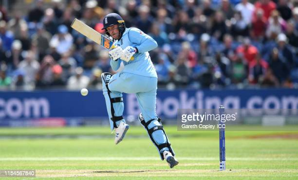 Jason Roy of England bats during the Group Stage match of the ICC Cricket World Cup 2019 between England and Bangladesh at Cardiff Wales Stadium on...