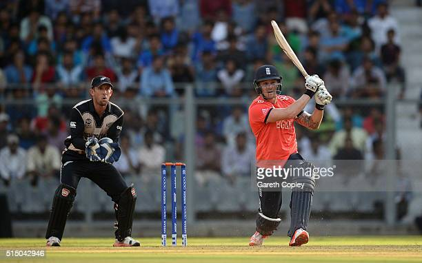 Jason Roy of England bats during the ICC Twenty20 World Cup warm up match between New Zealand and England at Wankhede Stadium on March 12 2016 in...