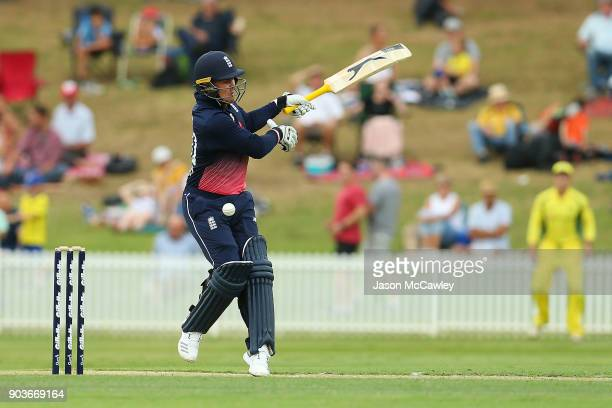 Jason Roy of England bats during the One Day Tour Match between the Cricket Australia XI and England at Drummoyne Oval on January 11 2018 in Sydney...