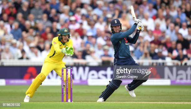 Jason Roy of England bats watched Australia wicketkeeper Tim Paine during the 3rd Royal London ODI match between England and Australia at Trent...
