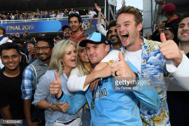 Jason Roy of England celebrate after winning the Cricket World Cup with fans during the Final of the ICC Cricket World Cup 2019 between New Zealand...