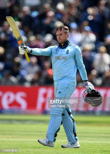 Jason Roy of England celebrates his century during the Group Stage match of the ICC Cricket World Cup 2019 between England and Bangladesh at Cardiff...