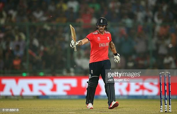 Jason Roy of England celebrates his half century during the ICC World Twenty20 India 2016 SemiFinal match between England and New Zealand at The...
