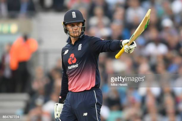 Jason Roy of England celebrates reaching his 50 during the 4th Royal London One Day International between England and West Indies at The Kia Oval on...