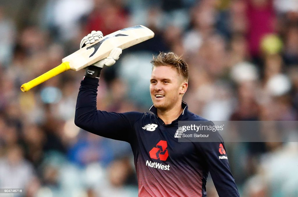 Jason Roy of England celebrates reaching his century during game one of the One Day International Series between Australia and England at Melbourne Cricket Ground on January 14, 2018 in Melbourne, Australia.