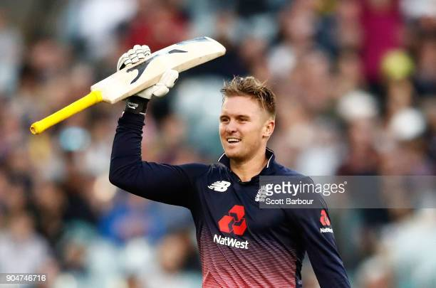 Jason Roy of England celebrates reaching his century during game one of the One Day International Series between Australia and England at Melbourne...