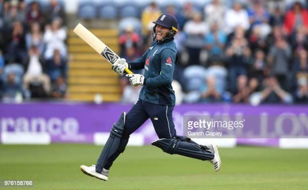 Jason Roy of England celebrates reaching his century during the 2nd Royal London ODI between England and Australia at SWALEC Stadium on June 16 2018...