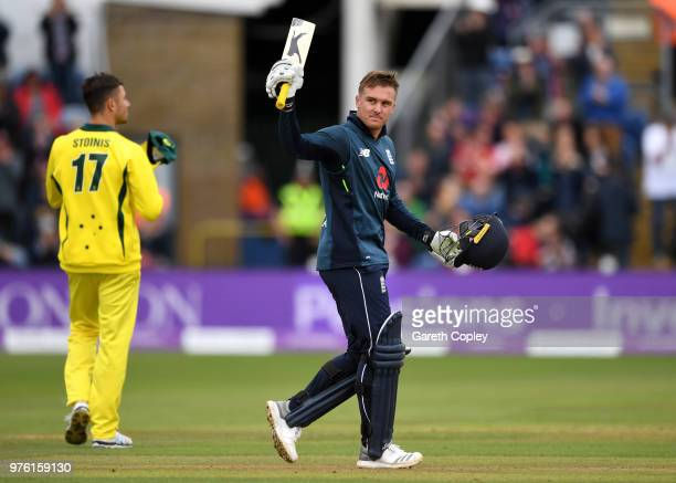 Jason Roy of England celebrates reaching his century during the 2nd Royal London ODI between England and Australia at SWALEC Stadium on June 16 2018...