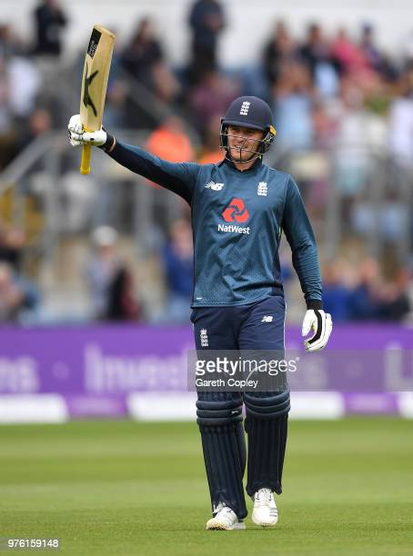Jason Roy of England celebrates reaching his century during the 2nd Royal London ODI between England and Australia at SWALEC Stadium on June 16, 2018...