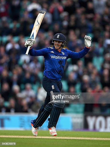 Jason Roy of England celebrates reaching his century during the 4th ODI Royal London One Day International match between England and Sri Lanka at The...
