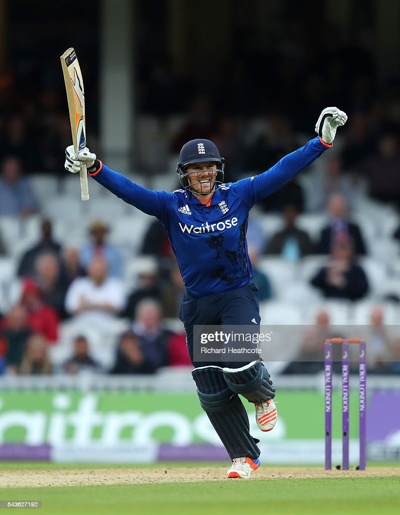 Jason Roy of England celebrates reaching his century during the 4th Royal London ODI between England and Sri Lanka at The Kia Oval on June 29, 2016 in London, England.