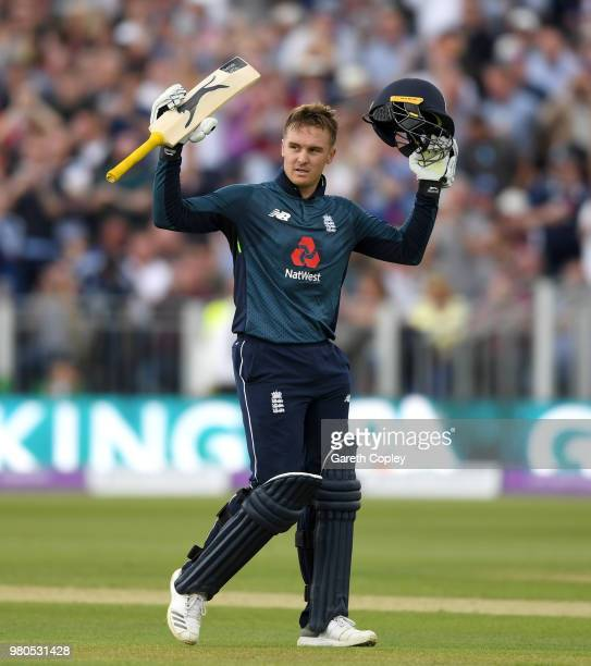 Jason Roy of England celebrates reaching his century during the 4th Royal London One Day International between England and Australia at Emirates...