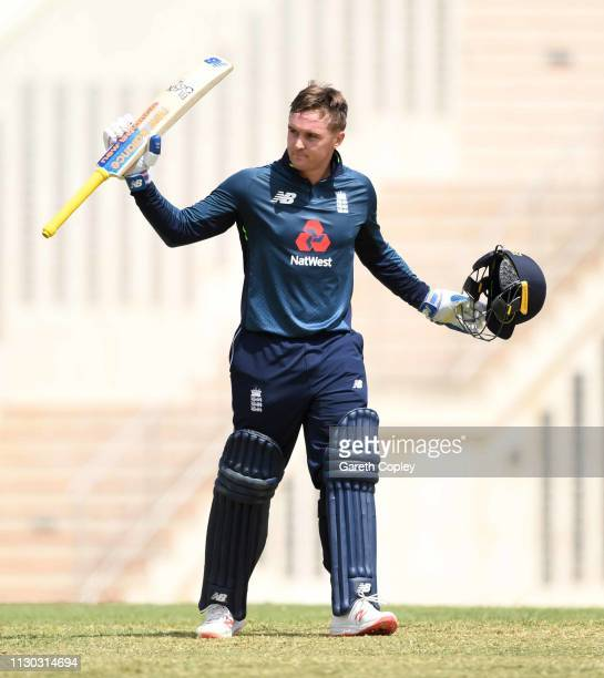 Jason Roy of England celebrates reaching his century during the One Day Tour Match between England and The University of West Indies Vice...