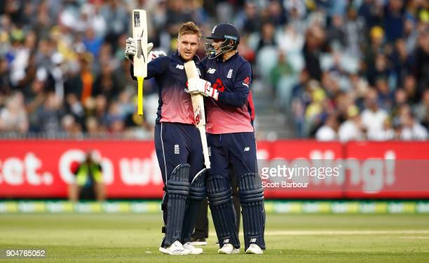 Jason Roy of England celebrates reaching his century with Joe Root during game one of the One Day International Series between Australia and England...