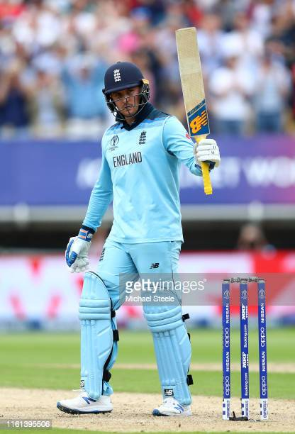 Jason Roy of England celebrates reaching his half century during the SemiFinal match of the ICC Cricket World Cup 2019 between Australia and England...