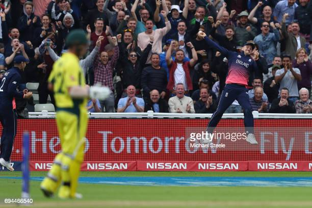 Jason Roy of England celebrates taking a spectacular catch to dismiss Glenn Maxwell off the bowling of Mark Wood during the ICC Champions Trophy...
