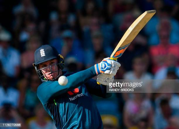 Jason Roy of England hits 4 during the 1st ODI between West Indies and England at Kensington Oval Bridgetown Barbados on February 20 2019 /...