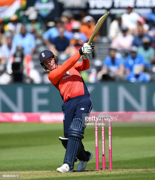 Jason Roy of England hits out for six runs during the 3rd Vitality International T20 match between England and India at The Brightside Ground on July...