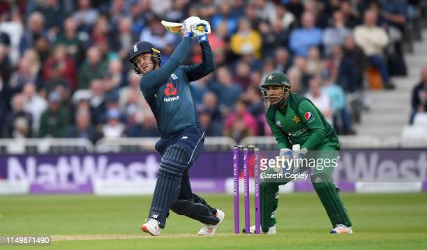 Jason Roy of England hits out for six runs during the 4th One Day International between England and Pakistan at Trent Bridge on May 17 2019 in...