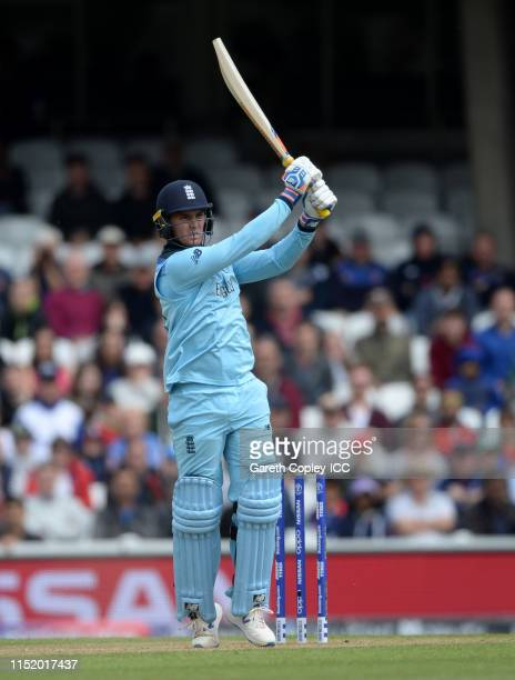 Jason Roy of England hits out for six runs to win the ICC Cricket World Cup 2019 Warm Up match between England and Afghanistan at The Kia Oval on May...