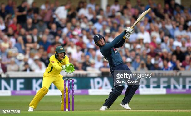 Jason Roy of England hits out of six runs watched Australia wicketkeeper Tim Paine during the 3rd Royal London ODI match between England and...