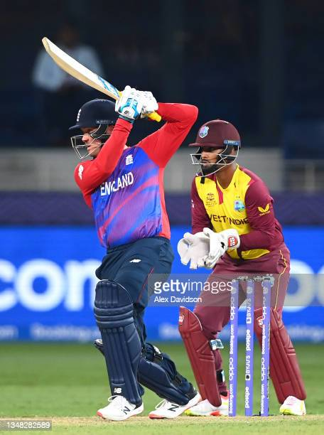 Jason Roy of England hits runs during the ICC Men's T20 World Cup match between England and Windies at Dubai International Stadium on October 23,...