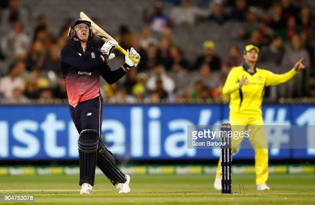 Jason Roy of England hits the ball in the air and is caught out for 180 runs during game one of the One Day International Series between Australia...