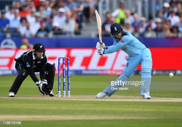 Jason Roy of England in action batting as Tom Lathan of New Zealand looks on during the Group Stage match of the ICC Cricket World Cup 2019 between...