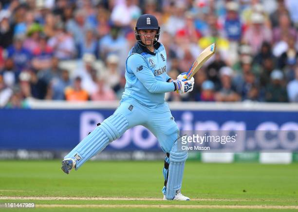Jason Roy of England in action batting during the Semi-Final match of the ICC Cricket World Cup 2019 between Australia and England at Edgbaston on...
