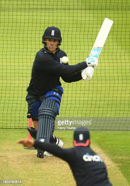 Jason Roy of England in batting action during an England Nets Session at Sophia Gardens on June 21, 2021 in Cardiff, Wales.