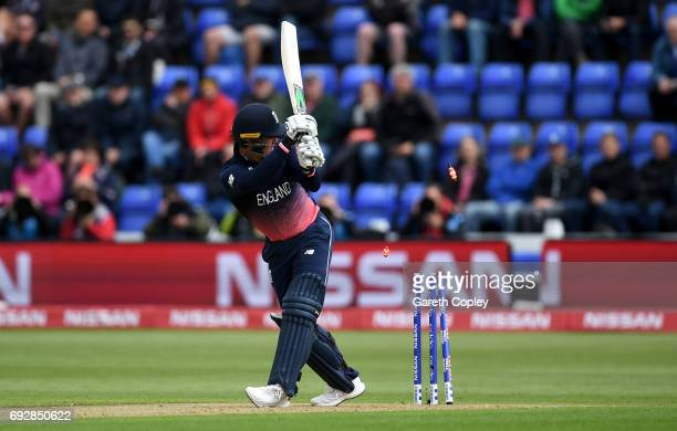 Jason Roy of England is bowled by Adam Milne of New Zealand during the ICC Champions Trophy match between England v New Zealand at SWALEC Stadium on...