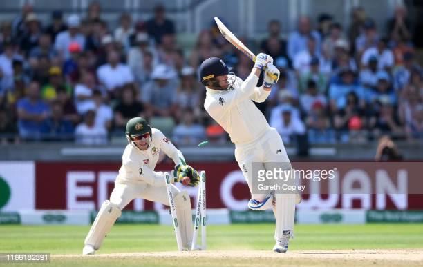 Jason Roy of England is bowled by Nathan Lyon of Australia during day five of the 1st Specsavers Ashes Test between England and Australia at...