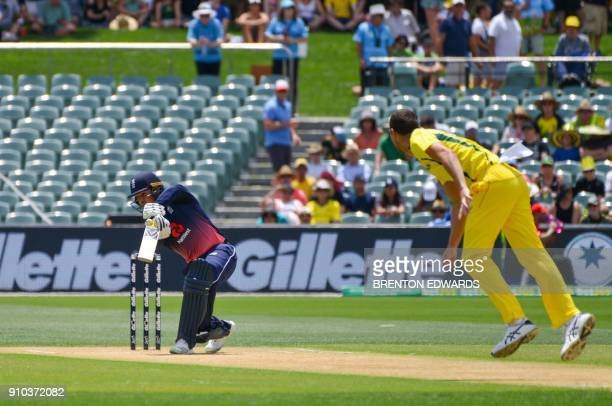 Jason Roy of England is caught out for a duck off the bowling of Australia's Josh Hazlewood during the fourth oneday international cricket match...
