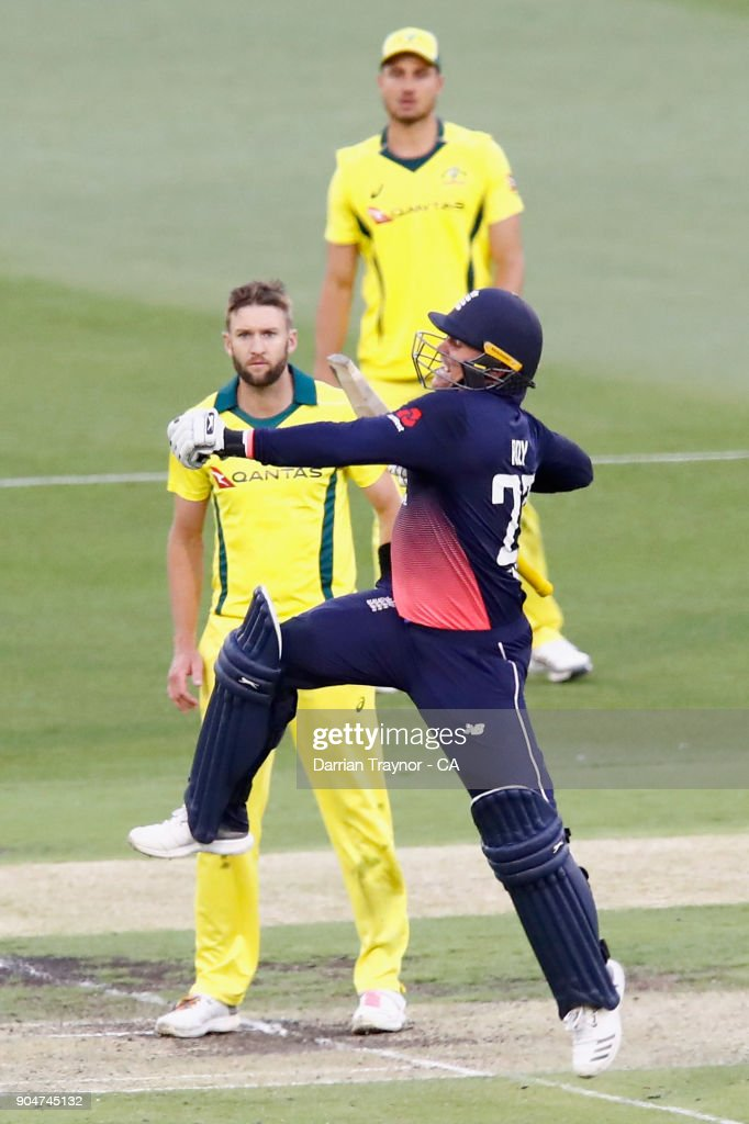 Jason Roy of England jumps with joy after scoring 100 runs during game one of the One Day International Series between Australia and England at Melbourne Cricket Ground on January 14, 2018 in Melbourne, Australia.