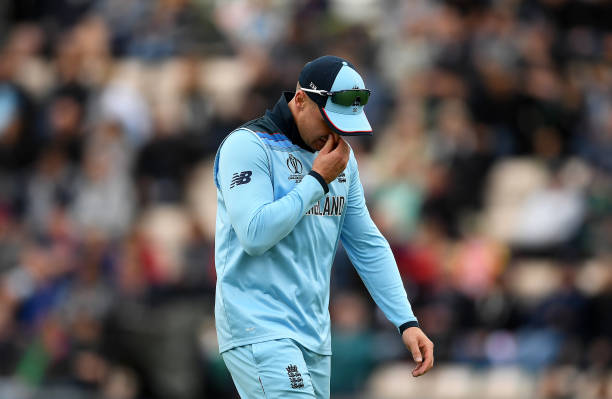 Jason Roy suffered an apparent injury in England's World Cup clash with West Indies