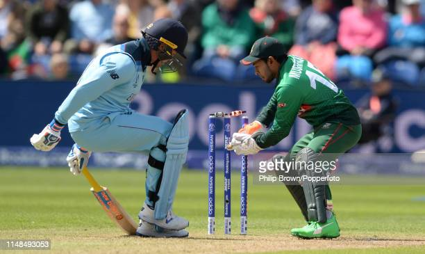 Jason Roy of England makes his ground before Musfiqur Rahim removes the bails during the ICC Cricket World Cup Group Match between England and...