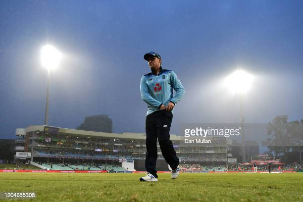 Jason Roy of England makes his way off the pitch following poor weather conditions during the Second One Day International match between England and...