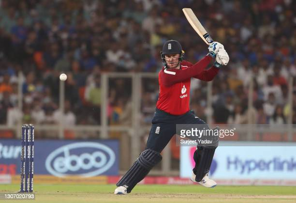 Jason Roy of England plays a cut shot during the 2nd T20 International match between India and England at Narendra Modi Stadium on March 14, 2021 in...