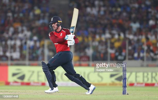 Jason Roy of England plays a pull shot during the 1st T20 International match between India and England at Sardar Patel Stadium on March 12, 2021 in...