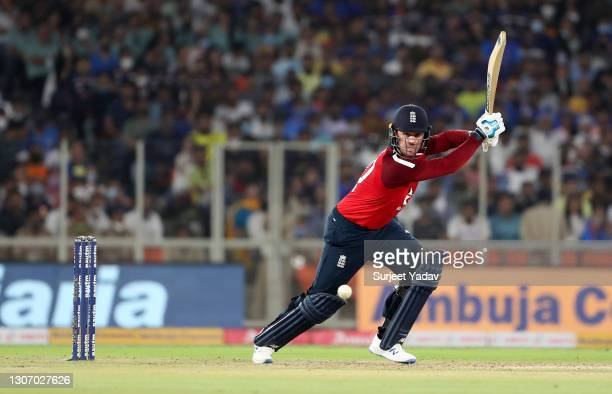 Jason Roy of England plays a shot during the 2nd T20 International match between India and England at Narendra Modi Stadium on March 14, 2021 in...