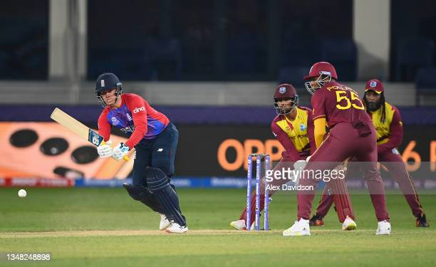 Jason Roy of England plays a shot during the ICC Men's T20 World Cup match between England and Windies at Dubai International Stadium on October 23,...