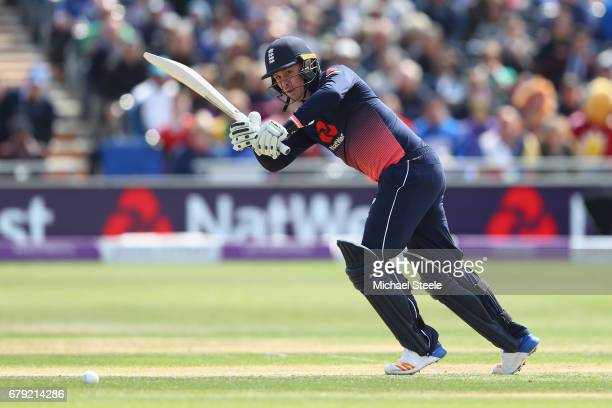 Jason Roy of England plays to the legside during the Royal London One Day International match between England and Ireland at The Brightside Ground on...