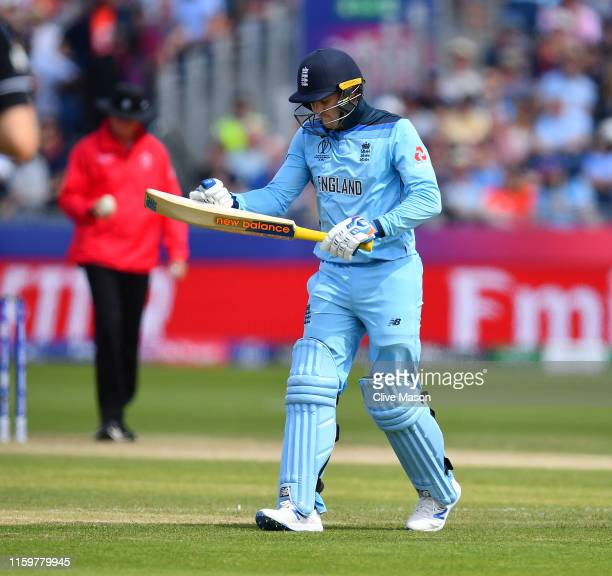 Jason Roy of England reacts as he is dismissed off the bowling of Jimmy Neesham of New Zealand during the Group Stage match of the ICC Cricket World...