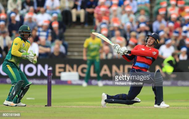 Jason Roy of England reverse sweeps during the 2nd NatWest T20 International match between England and South Africa at The Cooper Associates County...