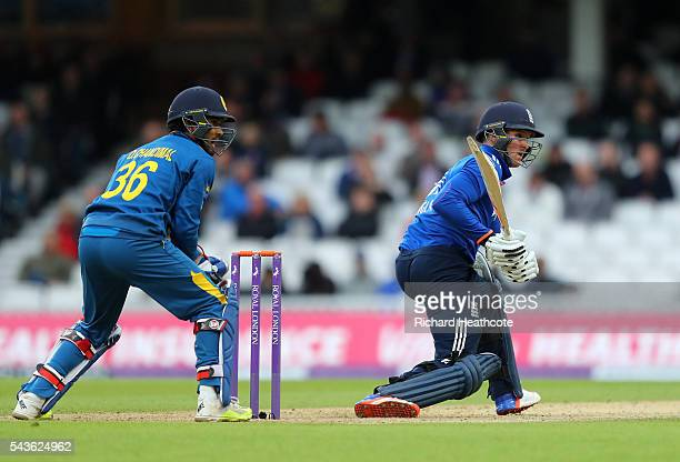 Jason Roy of England reverse sweeps during the 4th Royal London ODI between England and Sri Lanka at The Kia Oval on June 29 2016 in London England