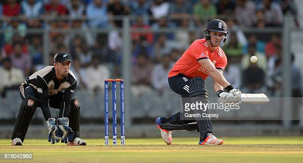 Jason Roy of England reverse sweeps during the ICC Twenty20 World Cup warm up match between New Zealand and England at Wankhede Stadium on March 12...