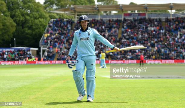 Jason Roy of England salutes the crowd as he leaves the field during the Group Stage match of the ICC Cricket World Cup 2019 between England and...