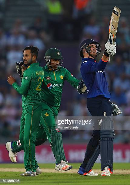 Jason Roy of England shows his frustration after being caught by Babar Azam off the bowling of Mohammad Nawaz during the first Royal London One Day...