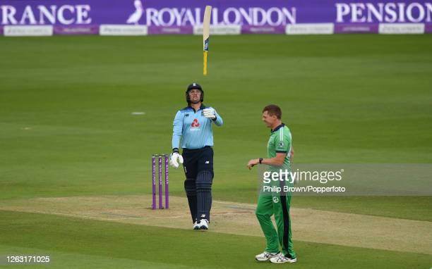 Jason Roy of England throws his bat in the air after being dismissed by Craig Young of Ireland during the second One Day International at the Ageas...